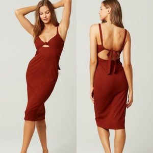 L*Space adjustable tie back body con dress